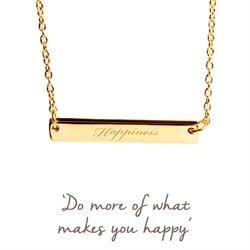 Happiness Mantra Bar Necklace in Gold
