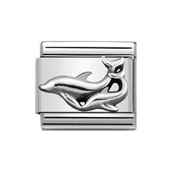 Silver Dolphin with Child Charm