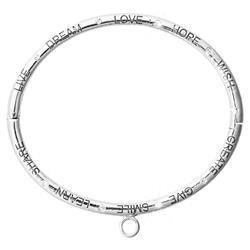 Silver Good Vibes Love Bangle 19cm