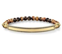 Love Bridge Tiger's Eye Skull Bracelet Gold-Plated