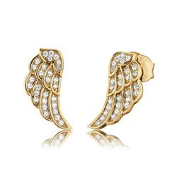 Gold Mini CZ Angel Wing Studs