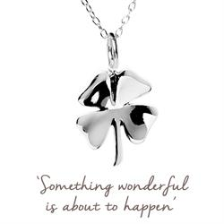 Clover Mantra Necklace in Silver