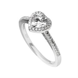 CZ Heart Band Ring Size M