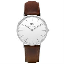 Bristol Brown Leather Watch in Silver