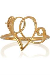 Gold Scroll Heart Ring Size O
