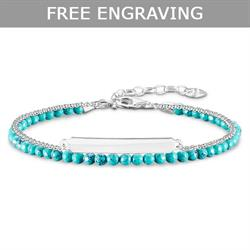 Thomas Sabo Silver Turquoise Double Love Bridge Bracelet 19cm