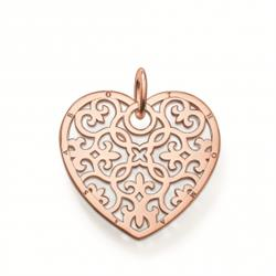 Rose Gold Arabesque Filigree Heart Pendant