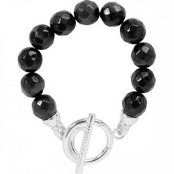 Black Cat's Eye Silver Bracelet 21cm