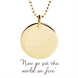 Graduation Cap Mantra Disc Necklace in Gold