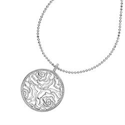 Silver Wild Rose Disc Pendant by Dower and Hall