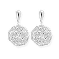 Ariella Silver Flower Coin Earrings