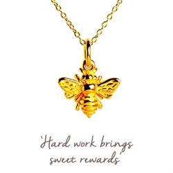 Bee Mantra Necklace in Gold