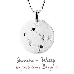 Gemini Star Map in Silver
