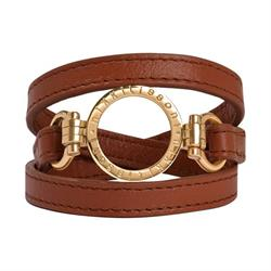 Brown Leather Wrap Bracelet in Gold