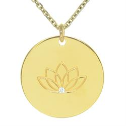 Single CZ Lotus myMantra Necklace in Gold