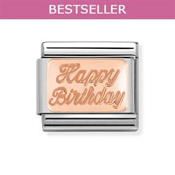 Rose Gold Happy Birthday Plate Charm
