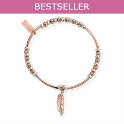 Buy ChloBo Rose Gold Silver Sparkle Feather Bracelet
