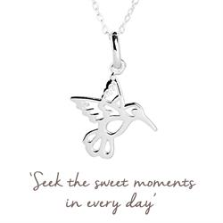 Buy Mantra Hummingbird Necklace in Silver