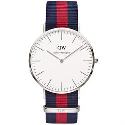Oxford Red/Navy Nato Strap Watch in Silver