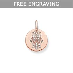 Thomas Sabo Rose Gold CZ Hand Of Fatima Coin Pendant