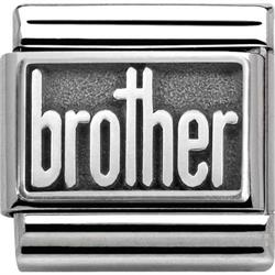 Silver Oxidised Brother Charm