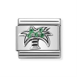 Siver and Green CZ Palm Tree Charm