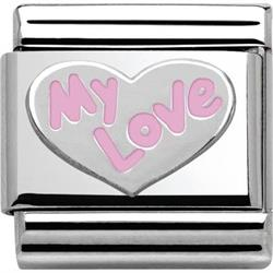 Silver and Pink My Love Charm