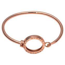 Rose Gold CZ Coin Bangle 17cm