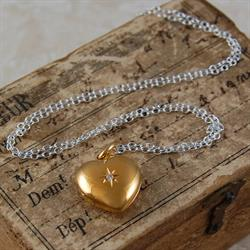 Heart and Star Gold Memory Locket