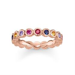 Royalty Beaded Rose Gold & Multi CZ Ring Size 52
