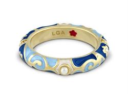 Lauren G Adams Fiesta Blue Pearl Ring In Gold Size 8