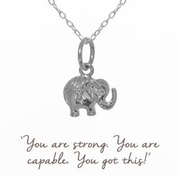 Mantra Decorated Elephant Necklace in Silver