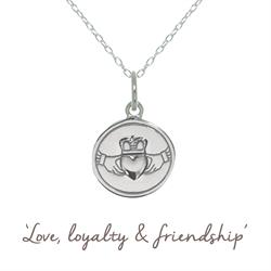 Claddagh Mantra Necklace in Silver