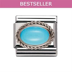 Turquoise and Silver Frill Oval Stone