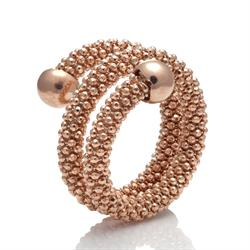 Rose Gold Two Row Mesh Ring