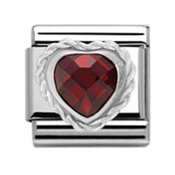 Nomination Red Heart with Twisted Silver charm