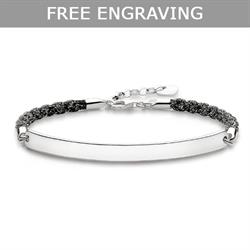 Black Sparkle Love Bridge Bracelet 19.5cm