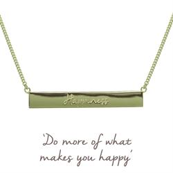 Gold Happiness Mantra Bar Necklace
