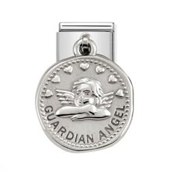 Silver Guardian Angel Coin Charm
