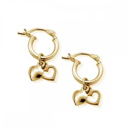 Gold Small Heart Hoops