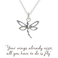 Mantra Dragonfly Necklace in Silver