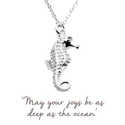 Buy Mantra Seahorse Necklace in Silver