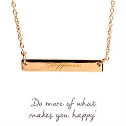 Happiness Mantra Bar Necklace in Rose Gold