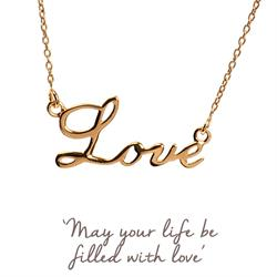 Mantra Love Script Necklace in Gold
