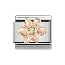 Rose Gold Daffodil with Yellow CZ Charm by Nomination