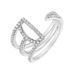 Metric Open Crystal Ring Size P