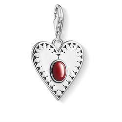 Silver Red Coral Heart Charm