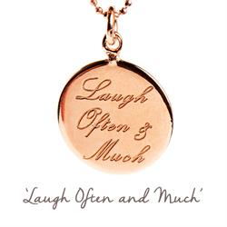 Laugh Often and Much Mantra Necklace in Rose Gold