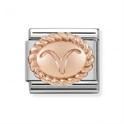 Rose Gold Aries Oval Zodiac Charm