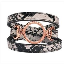 Snakeskin Rose Gold Leather Wrap Bracelet